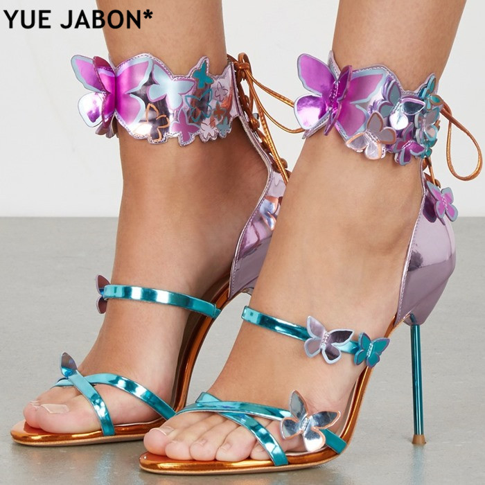 Newest Lace Up Mixed Colors Sweet butterfly decor Harmony Metallic Leather Turquoise strap belt Zapatos Mujer