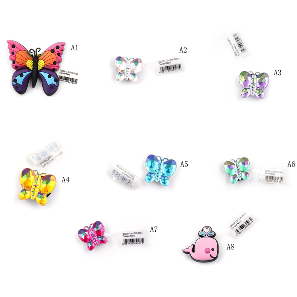 1pc Butterfly Style PVC Resin Shoe Buckles Candy Color Shoe Charms Accessories Fit Bands Shoe Charms недорго, оригинальная цена
