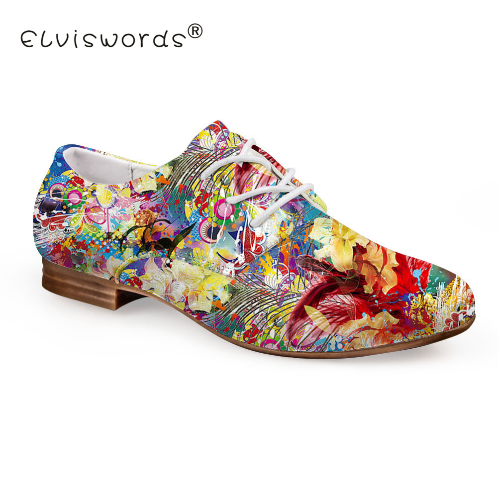 ELVISWORD Oil Painting Flower Printed Flat Shoes Women Fashion Summer Leather Shoes Ladies Oxford Shoes for