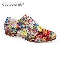 ELVISWORD Bức Tranh Sơn Dầu Hoa In Flat Giày Nữ Thời Trang Mùa Hè Leather Shoes Ladies Giày Oxford đối với Cái Giày Thường