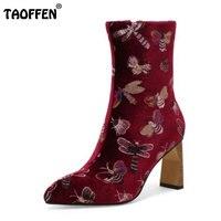 Taoffen Size 32 43 Ladies High Heel Boots Women Zipper Print Pointed Toe Thick Heel Boot