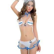 Sexy Toys Sex Products sailor Wear Student Uniform Sexy Costumes Open Crotch Catsuit Lingerie women Erotic Transparent Split Set