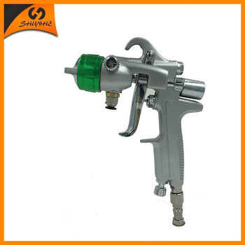 цена на SAT1189 pneuamtic paint guns automotive double nozzle spray gun dual head air nano chrome silver mirror plate spray paint gun