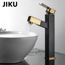 JIKU Luxury Bathroom Faucet Black Gold-plated  Gold Plated Space Copper Basin Sink Mixer Tap