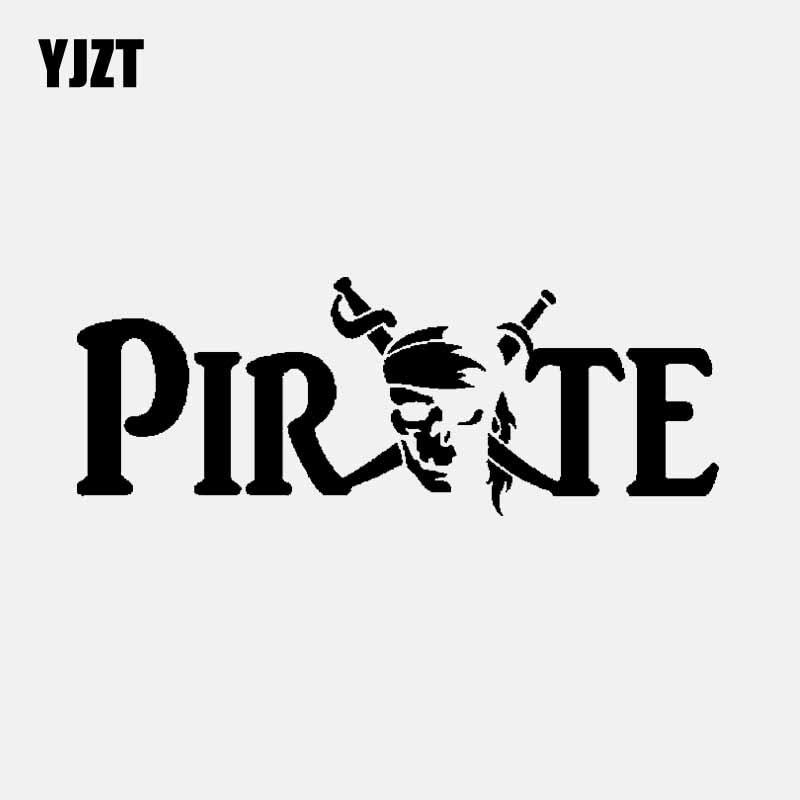 YJZT 15.9CM*5.9CM Vinyl Decal Personality Skull Pirate Car Sticker Black/Silver C3-1862