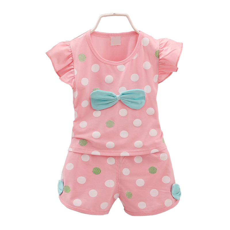 2pcs Baby Girl Sets Baby Clothes Infantil Toddle Summer Style Polka Dot Sleeveless Tops + Girl Shorts Pink Little Girl Sets D30