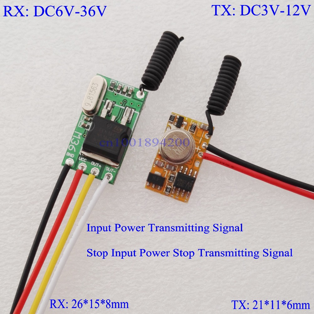 DC6V-36V RX + DC3V-12V TX RF Remote Control Switch Mos Contactless Receiver + Power ON Transmitting Transmitter  Trigger M T dc3 5v dc12v mini relay receiver dc3v dc12v transmitter pcb power on transmitting 3 7v 4 5v 5v 6v 7 4v 9v 12v wireless tx rx mod