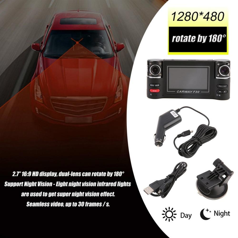 2.7 Dual Lens Car Vehicle 1080P HD Dash Camera DVR Cam Night Vision Recorder HDMI Output G-sensor Function Reset Function full hd car wifi hidden dvr camera dash cam video recorder night vision g sensor dash camera 4k dvr car recorder dashcam dual