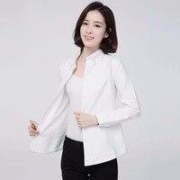 2017ブランド冬暖かいシャツ女性のシャツ無地女性シャツブラウスホワイトトップスベルベット厚いプラスサイズビジネスフォーマルシャ