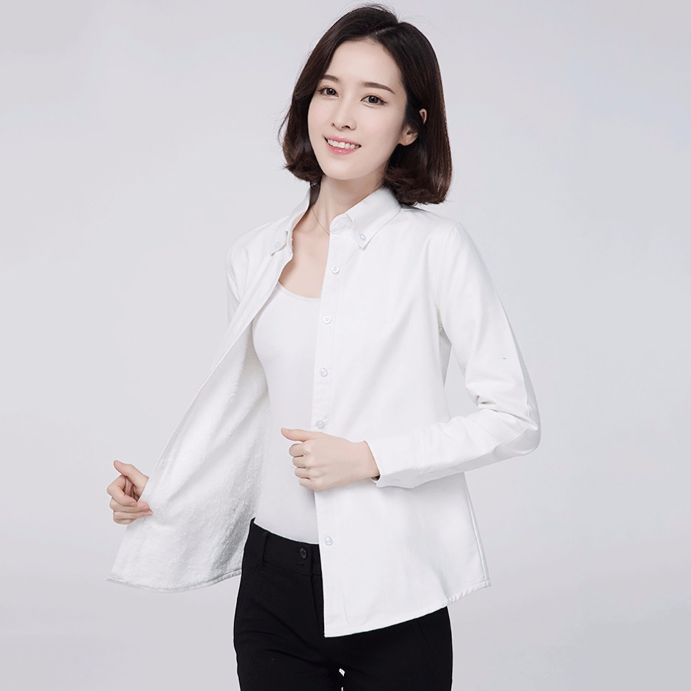 2017 brand winter warm shirts women 39 s shirt solid color for Top dress shirt brands