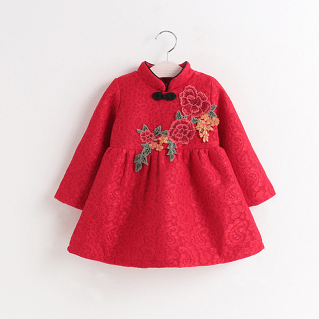 dd52a7e76ce8 Baby Girls Clothes Winter Girls Christmas Red Flower Dress Chinese ...