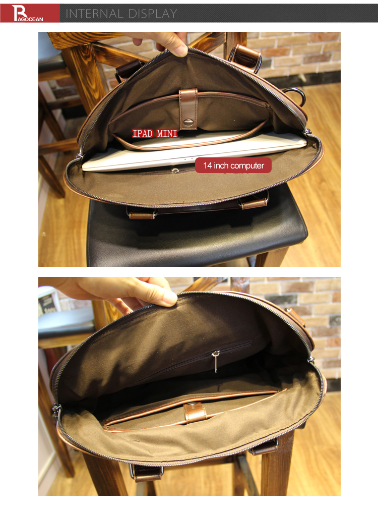 "New high quality pu leather Shoulder leisure men's bag business messenger portable briefcase Laptop large Purse 14"" Handbag 13"