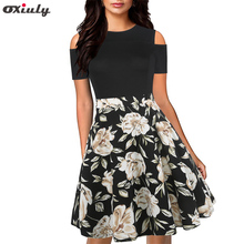 Oxiuly Vintage Hollow Out Spaghetti Strap Floral Print Patchwork O-Neck Work Dress A-Line Female Flare Print Formal Causal Dress