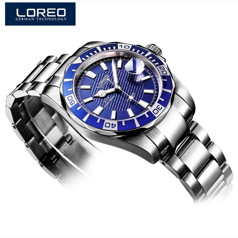 LOREO Alibaba Men Watch Luminous Auto Date Mechanical Watch Business Wristwatch Stainless Steel Orologi Uomo Christmas Gift A45