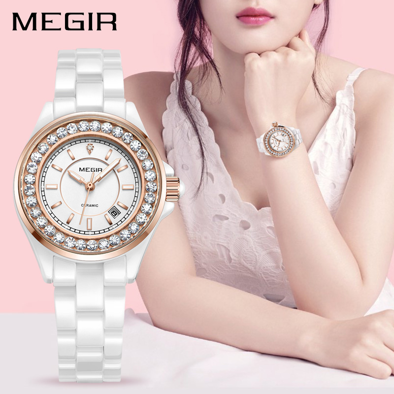 MEGIR Ceramic Women Watches Top Brand Luxury Ladies Lover Wrist Watch Clock Women Relogio Feminino Quartz Wristwatch Hour 4195 sinobi ceramic watch women watches luxury women s watches week date ladies watch clock montre femme relogio feminino reloj mujer