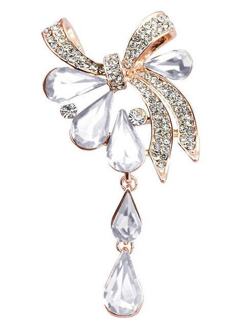 2019 Модные женские броши с кристаллами в форме капли бантом