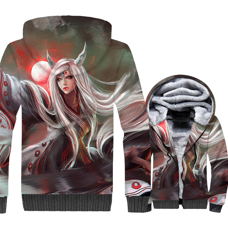 Game 3D Print Hoodie Men Japan Anime Naruto Uzumaki Jacket Men Sweatshirt 2018 Winter Thick Fleece Zipper Coat Hip Hop Jacket