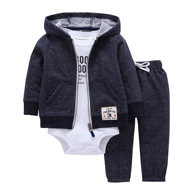 2018 Bebes для маленьких мальчиков комплект одежды для девочек комбинезоны Bebes хлопок кардиган с капюшоном + брюки + тело 3 1 предмет Одежда для новорожденных