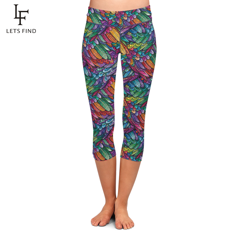 LETSFIND Summer Style 3D Colorful Feathers Design Digital Printing Capri Leggings High Waist Women Mid-Calf 3/4 Pants Plus Size