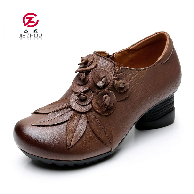 Women Pumps Genuine Leather Square Heels Ethnic Style Flower Round Toe Hook Loop Mary Janes Shoes