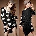 Женщин случайные свитера черепа шаблон сексуальная длинным рукавом пуловеры платье 2015 новый зимний плюс размер бесплатная доставка 51