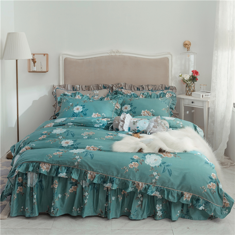Luxury European American floral bedding set 100% cotton bed sets bed skirt high quality duvet cover twin queen king quilt coverLuxury European American floral bedding set 100% cotton bed sets bed skirt high quality duvet cover twin queen king quilt cover