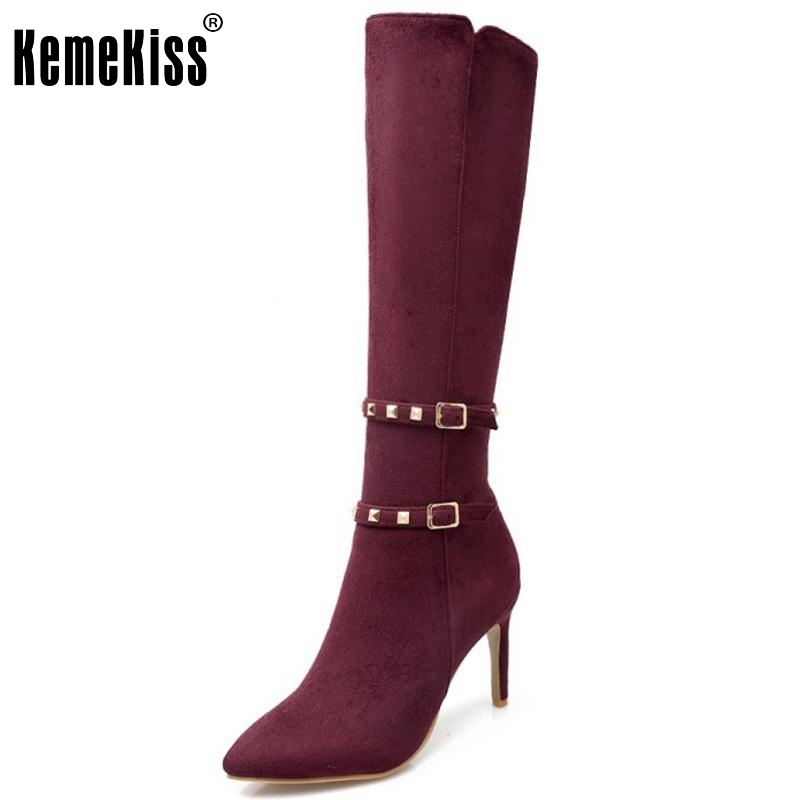Women Sexy Pointed Toe Thin High Heel Knee Boots Woman Fashion Buckle Wrap Rivets Heeled Footwear Shoes Size 31-43 customizable fashion women knee high boots sexy pointed toe thin heels leopard boots shoes woman plus size 4 15