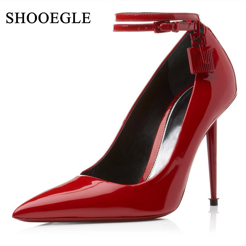 Zapatos Mujer 2019 Red Patent Leather Women Pumps Ankle Strap Padlock High Heels Sexy Pointed Toe