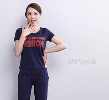 Latest summer leisure sports suit letters short sleeve 7 minutes of pants fashion women Suit loose big yards G1195