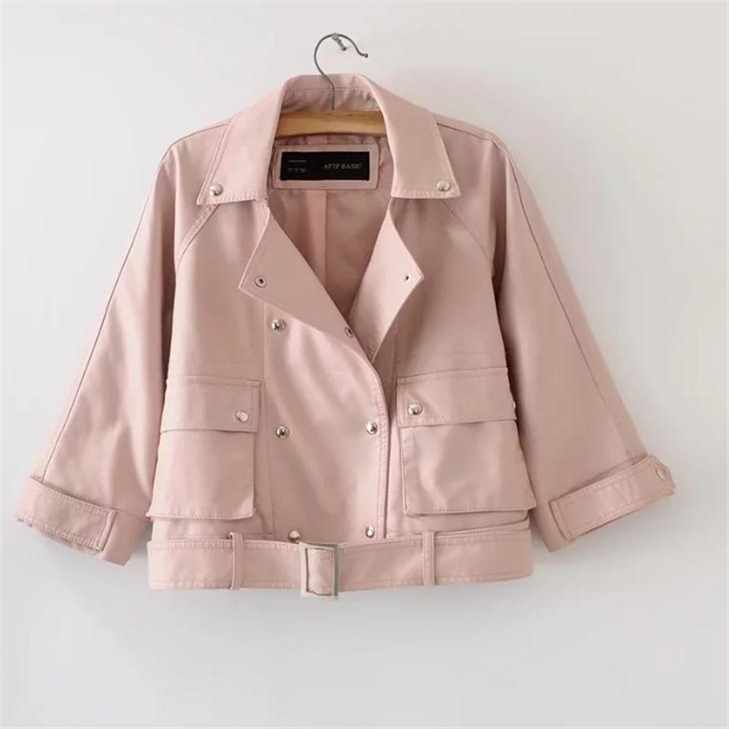 Pink Spring and Autumn fashion women's PU   leather   jacket Coats European and American trend simple personality locomotive jackets
