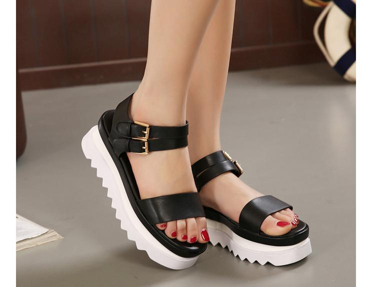 30534ddc004f Chunky Wedges Platform Thick Sole Sandals White Black Strappy Wedges Sandals  Women Shoes Trendy Women Wedge Shoes Strap Sandals-in Women s Sandals from  ...