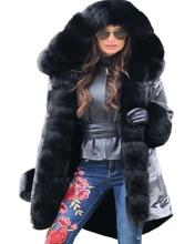 Roiii Women's Thicken Warm Black Camouflage Casual Winter Warm Faux Fur Hooded Plus Size EU 36 40 50 Luxury Parka Jacket Coat