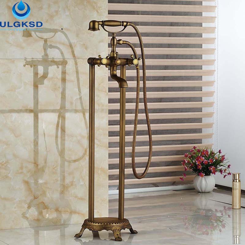 Ulgksd Wholesale and Retail Antique Brass Bathtub Mixer Tap Faucet W/Hand Shower Tub Filler 2 Cross Vessel Bathroom Tub Faucet wholesale and retail promotion wall mounted bathroom tub faucet spout w hand shower sprayer antique brass shower mixer tap