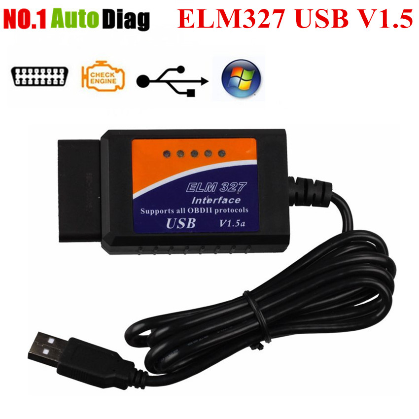 Prix pour Top ELM327 USB En Plastique OBD2 Auto Outil De Diagnostic Version V1.5 ELM 327 USB Interface OBDII CAN-BUS Scanner Sans FT232RL Puce