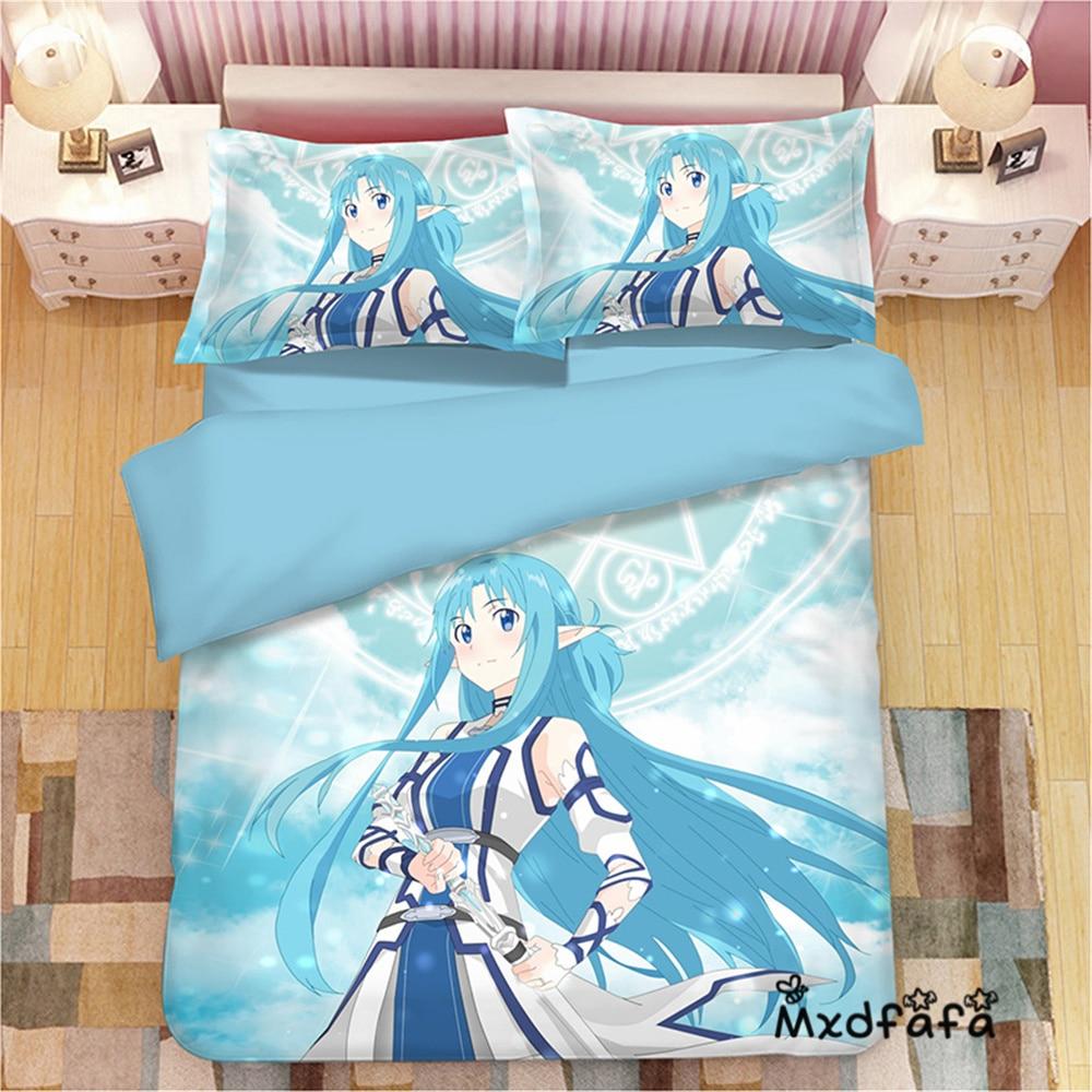 Ev ve Bahçe'ten Yatak Takımları'de Mxdfafa Anime Nevresim yatak örtüsü seti SAO Sword Art Online Yuuki Asuna Lüks Yorgan yatak setleri Dahil 1 Nevresim ve 2 Yastık Kılıfı'da  Grup 1
