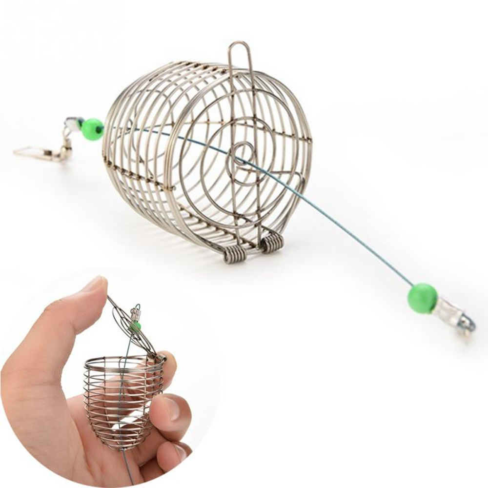 4.5*5.7cm/4*4.6cm/3.4*3.6cm Fish Small Stainless Steel Bait Cage Basket Feeder Holder Fishing Lure Cage Fishing Accessories