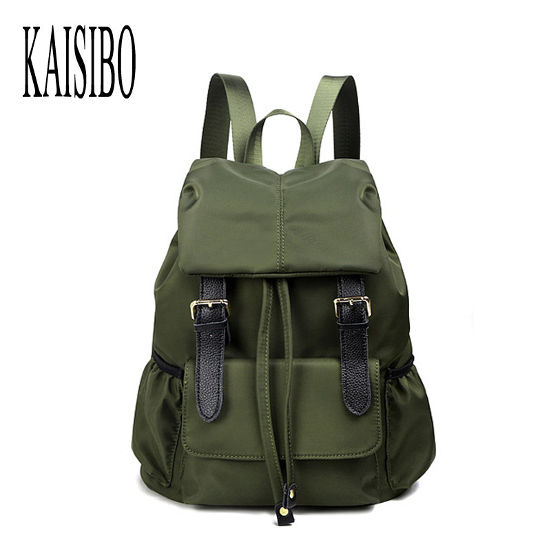 KAISIBO High Quality Backpack Female Solid Womens Backpacks Belt Large Nylon Black/Green Waterproof Women Bag Mochila