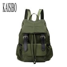 Kaisibo высокое качество рюкзак женский сплошной женские рюкзаки ремень большой нейлон черный/зеленый Водонепроницаемый рюкзак женщины сумка Mochila