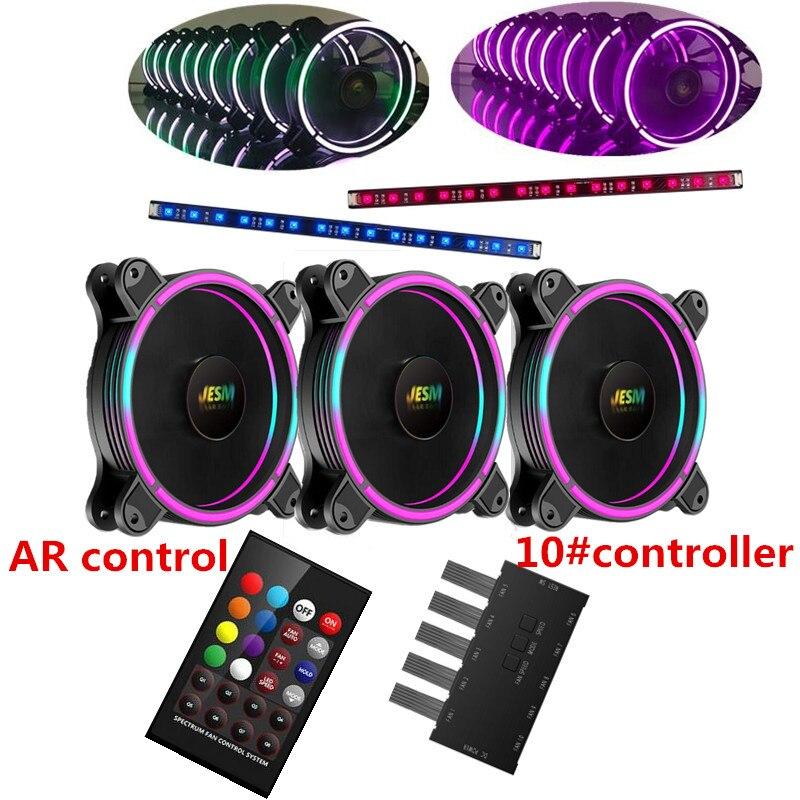 AIGO JESM J3 PC Computer Case Ventola Di Raffreddamento Streamers Colore RGB 120mm A Basso Rumore Elevato Flusso D'aria Regolabile LED Fan