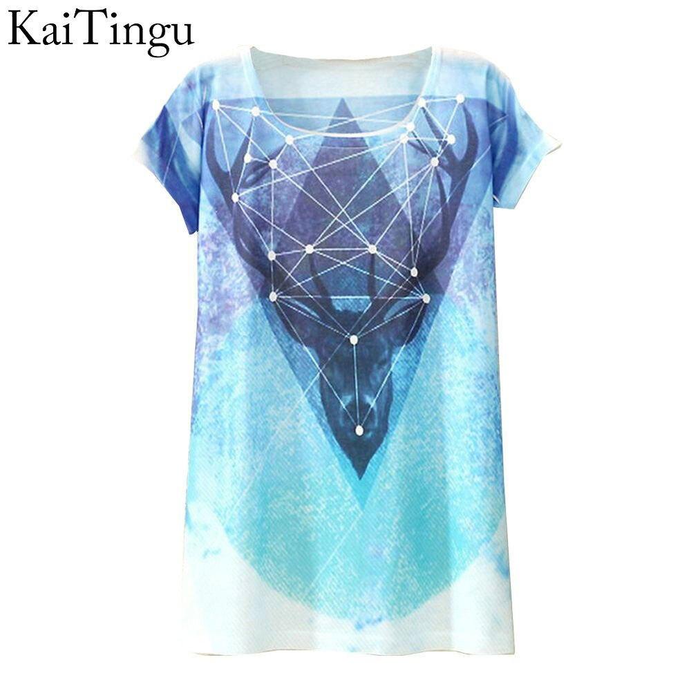 KaiTingu 2017 New Fashion Vintage Spring Summer T Shirt Women Tops Print T-shirt Deer Printed White Woman Clothes