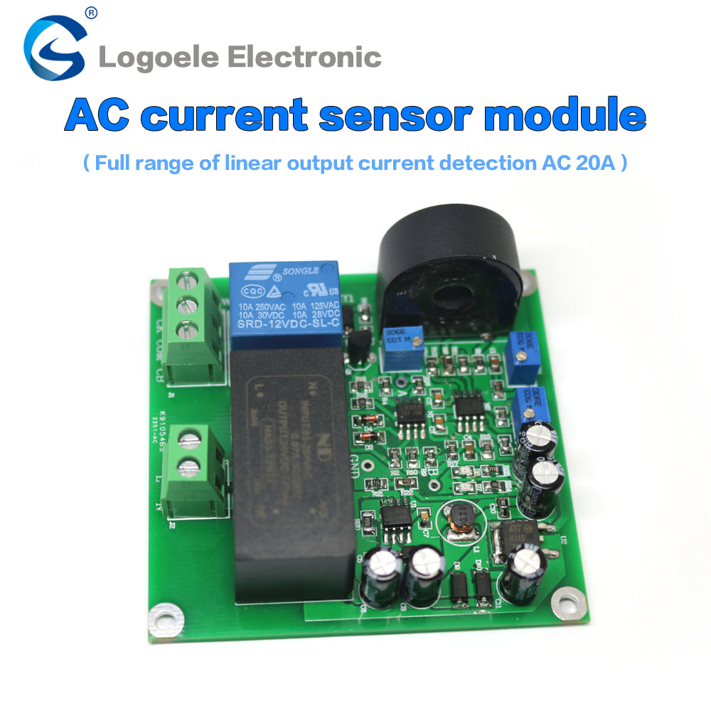 High quality AC 0-5A/10A/20A current sensor module detect the full range of linear relay output 1pcs current detection sensor module 50a ac short circuit protection dc5v relay