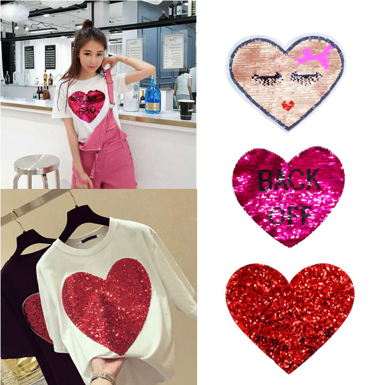 Embroidery Clothing Accessories Explosion Embroidery Sticker Fast Hand Red Man The Same Sequins Letter Love Hearts Girl(China)