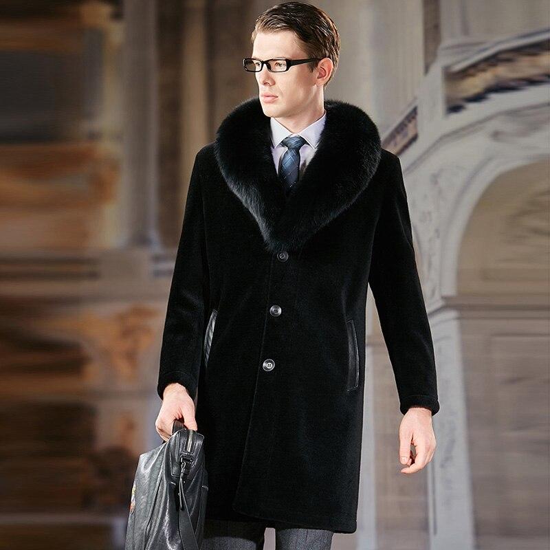BFFUR 2019 Fashion Mens Sheepskin Fur Coat With Fox Fur Collar Long Natural Genuine Fur Jacket For Men Outwear Luxury Fur Coats