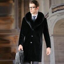 BFFUR 2019 Fashion Mens Sheepskin Fur Coat With Fox Fur Collar Long Natural Genuine Fur Jacket For Men Outwear Luxury Fur Coats retro nobility shawl jacket fox fur collar sheepskin fur luxurious women s fur coat sheepskin coat fur coats real leather coat