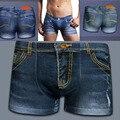 NUEVOS Hombres Atractivos de Impresión Clásica de Algodón Spandex Calzoncillos Boxeadores de Los Hombres Denim-como Denim Jeans Boxer Shorts L-3XL
