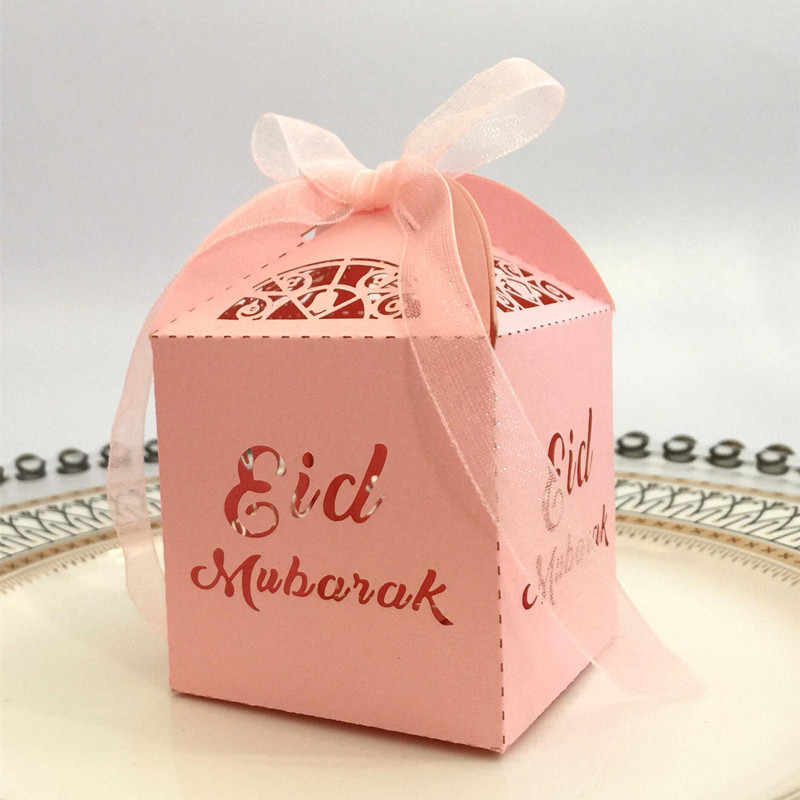 20 chiếc EID Mubarak Xí Ngầu Kẹo Tặng Ramadan Đồ Trang Trí Đảng Hồi Giáo DIY Trang Trí Các Tông Thùng Đóng Gói Hộp nơ