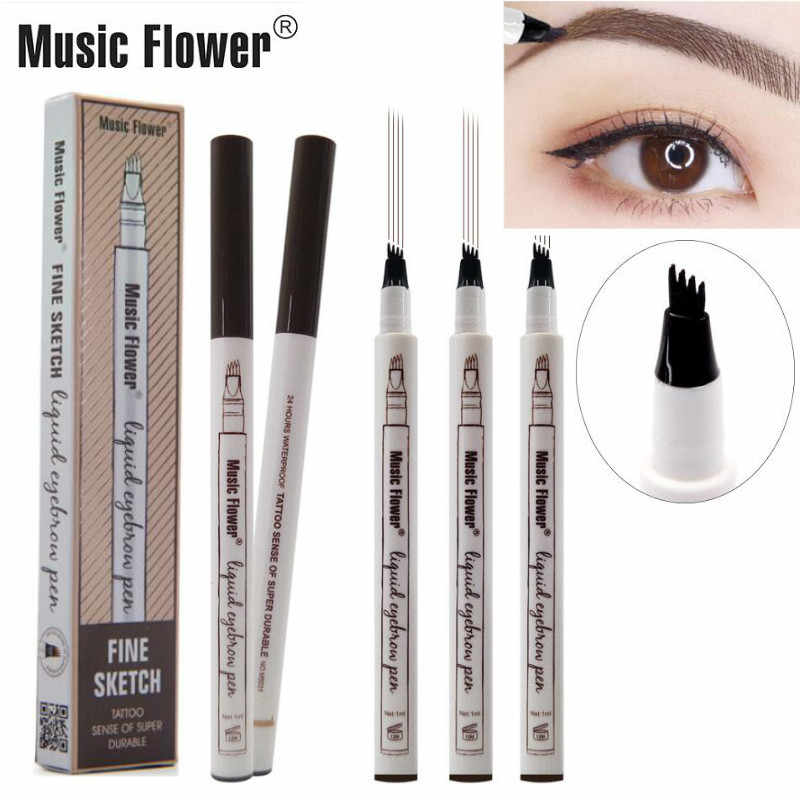 4 ส้อม Microblading Eyebrow Tattoo ปากกาดอกไม้ Fine Sketch Liquid Eyebrow Waterproof Eye Brow ดินสอ Smudge-3 สี