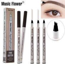 4 Fork Microblading Eyebrow Tattoo Pen Music Flower Fine Sketch Liquid Waterproof Eye Brow Pencil Smudge-proof 3 Colors