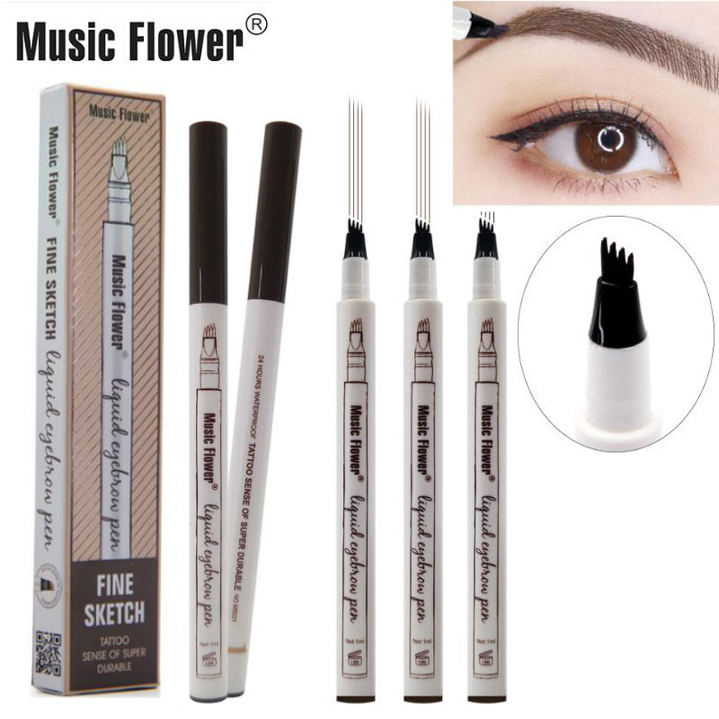 4 Fork Microblading Eyebrow Tattoo Pen Music Flower Fine Sketch Liquid Eyebrow Waterproof Eye Brow Pencil Smudge-proof 3 Colors