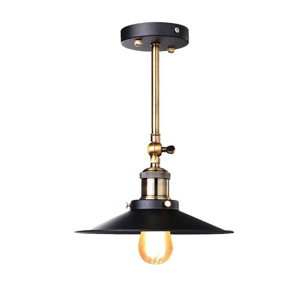 Black Retro Industrial Edison Vintage Wall Lamp/Ceiling Light - Antique Finish Brass Arm with Metal Lampshade (Diameter: 20cm) vintage retro industrial edison antique clear glass 2 light adjust wall lamp cafe bar coffee shop club